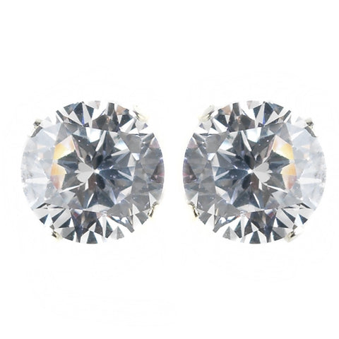 5mm Sterling Silver Round Clear CZ Crystal Stud Bridal Wedding Earrings