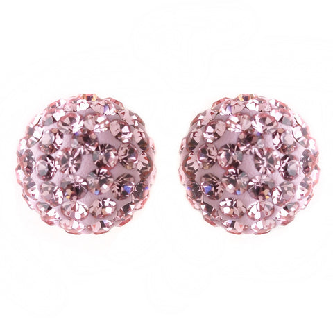 8mm Sterling Silver Ball Light Pink Crystal Stud Bridal Wedding Earrings