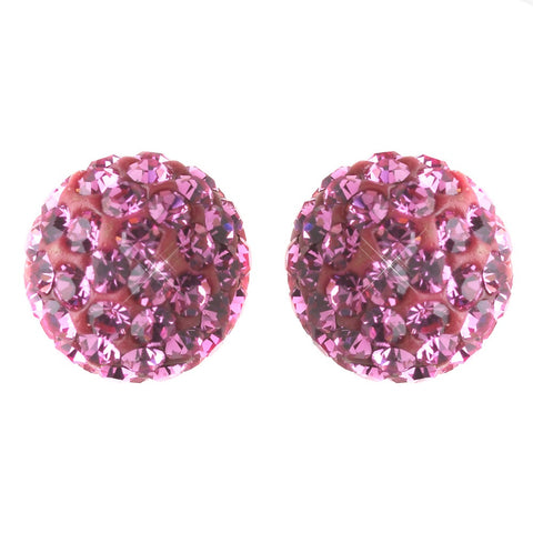 8mm Sterling Silver Ball Pink Crystal Stud Bridal Wedding Earrings