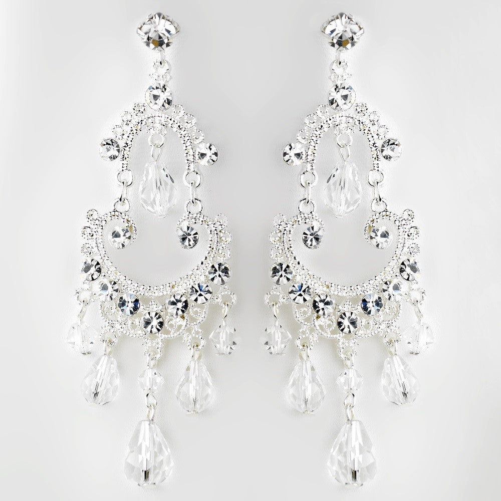 Silver Clear Crystal Chandelier Bridal Wedding Earrings 9686