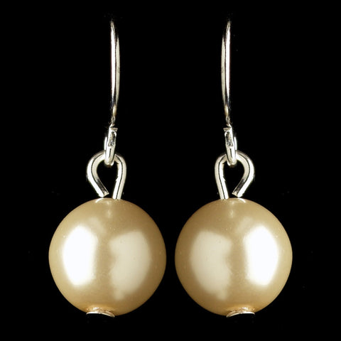 Silver Ivory Pearl Hook Drop Bridal Wedding Earrings 9715