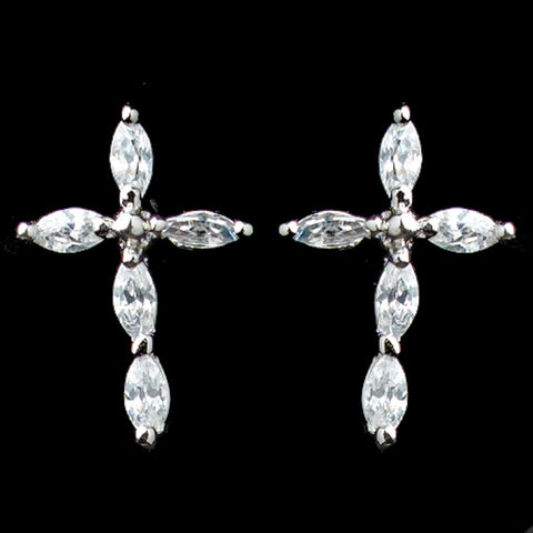 Rhodium Clear Marquise CZ Cross Stud Bridal Wedding Earrings 9792