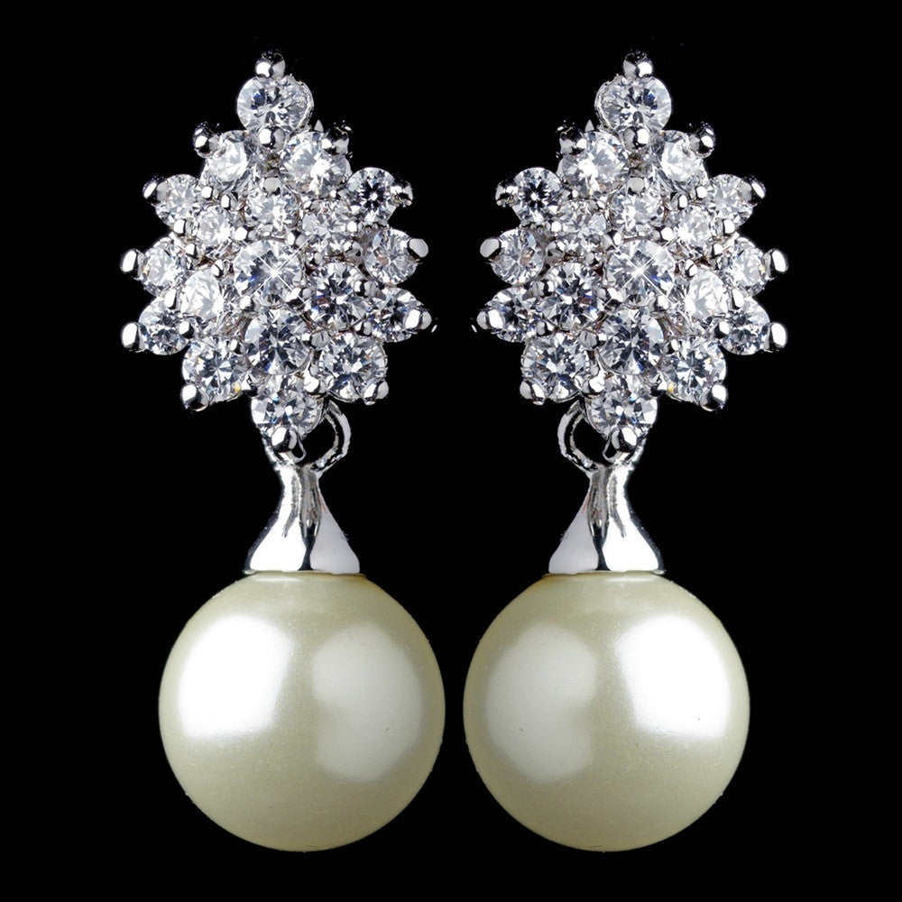 Rhodium Ivory Pearl & CZ Drop Leaf Bridal Wedding Earrings