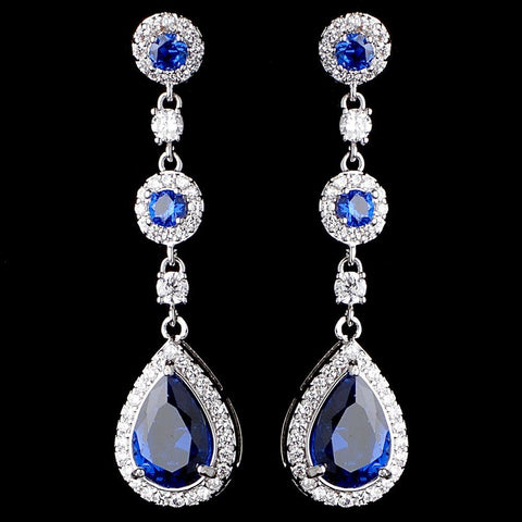 Rhodium Sapphire Teardrop CZ Dangle Bridal Wedding Earrings 9802