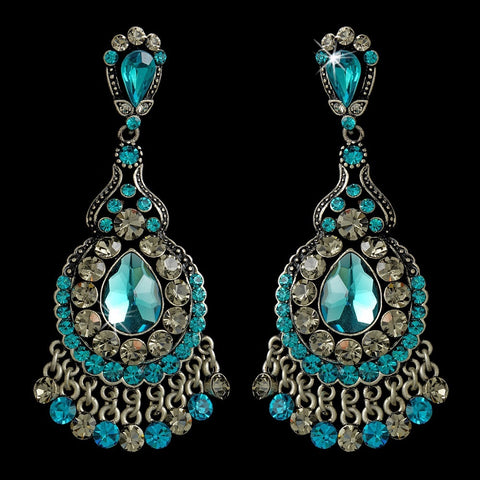Teal Crystal Chandelier Bridal Wedding Earrings E 989