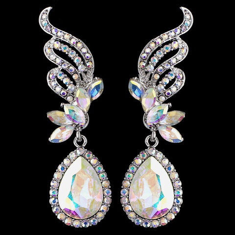 Silver AB Rhinestone Drop Bridal Wedding Earrings 9891