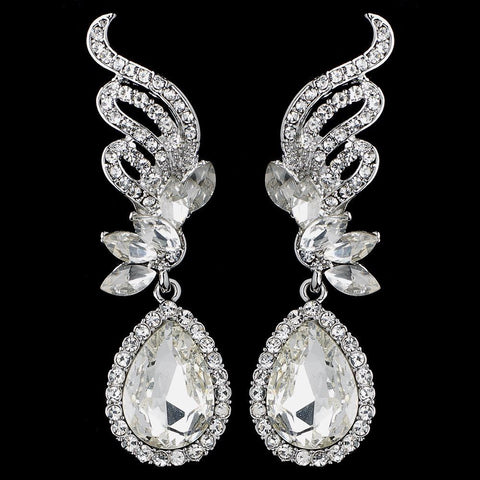 Silver Clear Rhinestone Drop Bridal Wedding Earrings 9891