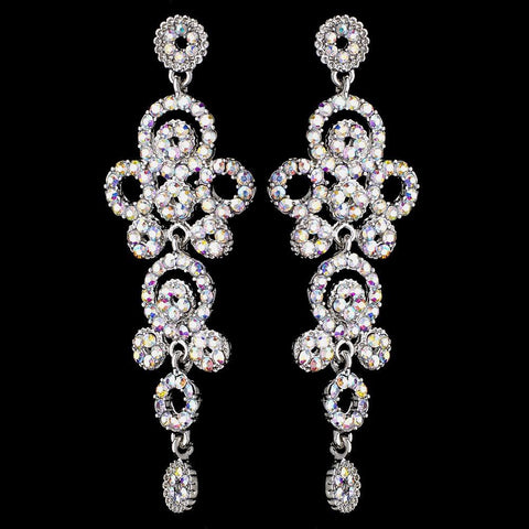 Silver AB Rhinestone Round Circle Dangle Bridal Wedding Earrings 9892
