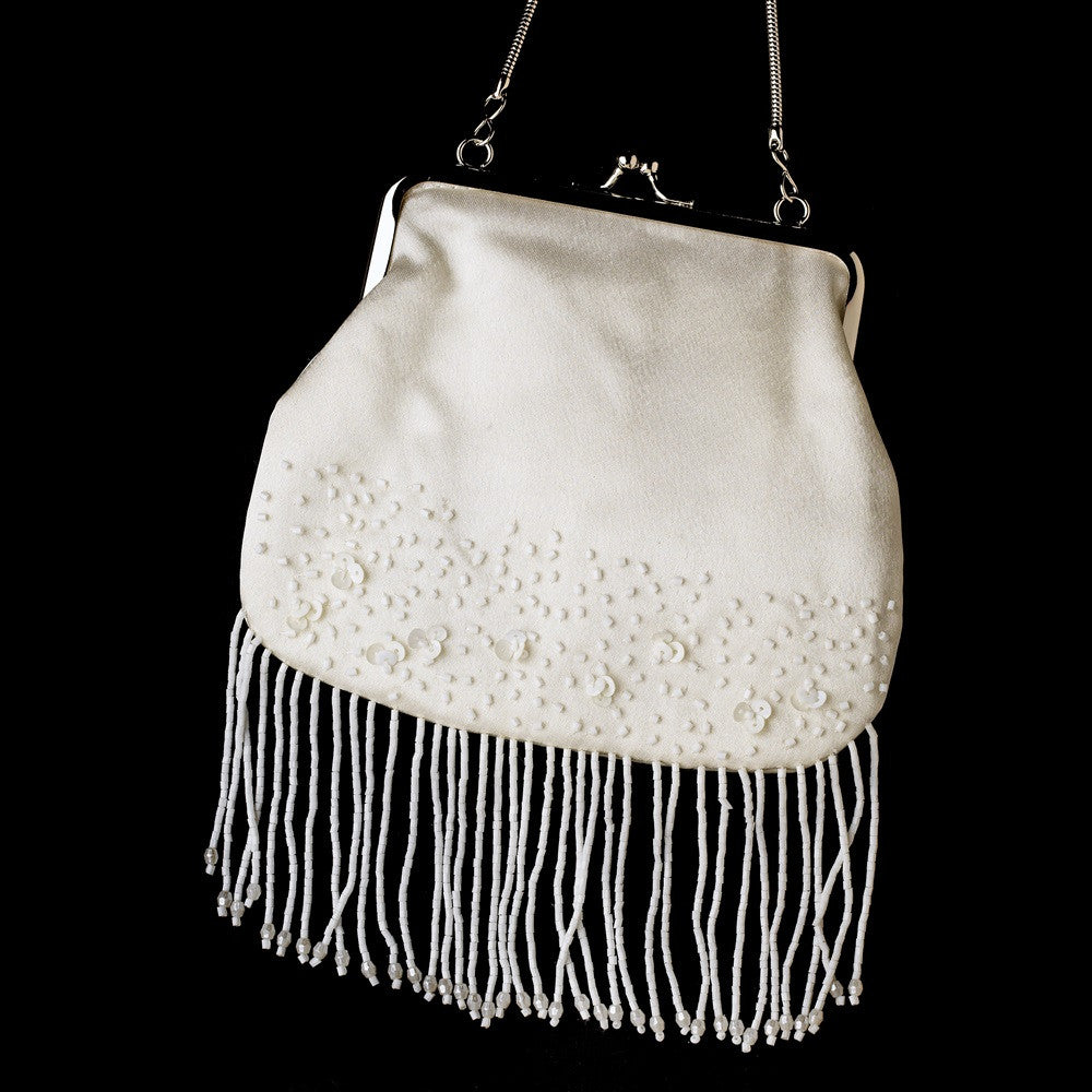 * Beautiful Ivory Satin Bead Fringe Bridal Wedding Evening Bag 205