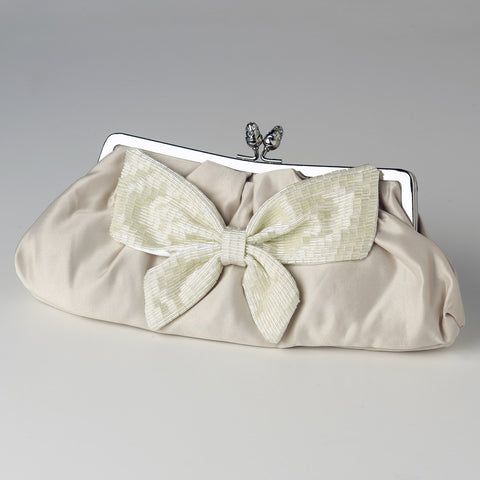 Matte Satin Beaded Bow Tie Bridal Wedding Evening Bag 301