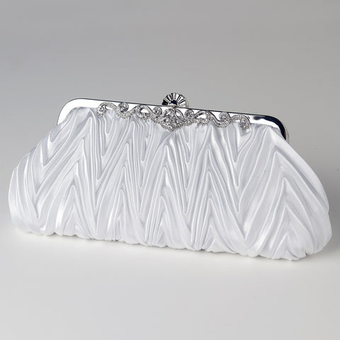 Satin Bridal Wedding Evening Bag 308 with Rhinestone Accented Vintage Frame