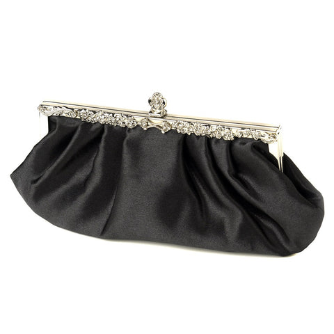 Satin Bridal Wedding Evening Bag 309 with Rhinestone Accented Vintage Frame