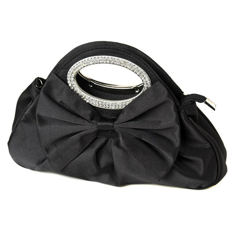 Satin Bridal Wedding Evening Bag 311 with Rhinestone Accented Handles