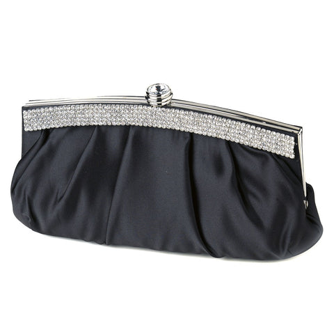 Satin Bridal Wedding Evening Bag 322 with Crystal Trim Accent & Closure, Silver Shoulder Strap