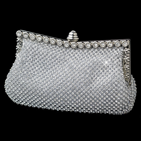 Silver Clear Crystal Double Sides Bridal Wedding Evening Bag 330