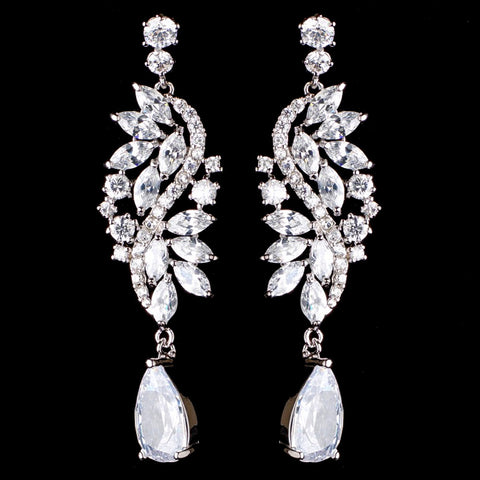 Rhodium Silver Marquise Dangle Bridal Wedding Earrings 3902