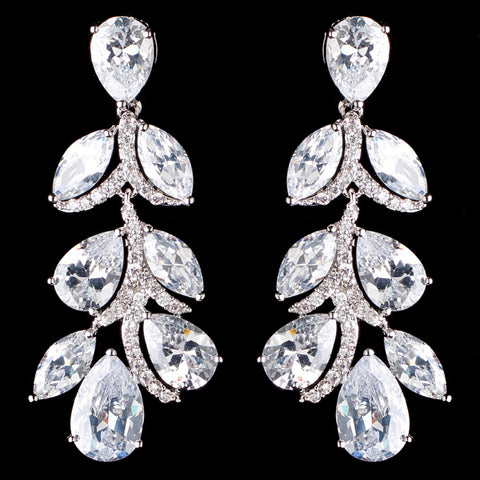 Rhodium Silver Clear CZ Teardrop Dangle Bridal Wedding Earrings 3904