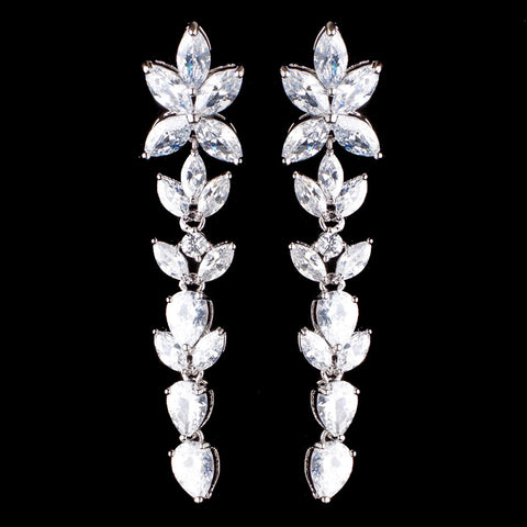 Rhodium Silver Clear CZ Long Dangle Bridal Wedding Earrings 3906