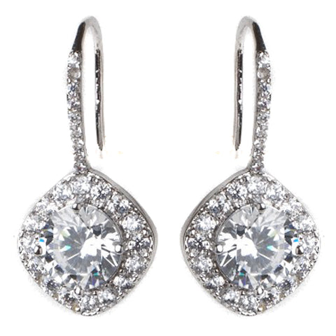 Rhodium Silver Round Pave CZ Dangle Bridal Wedding Earrings 3907