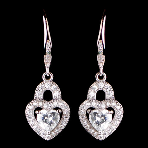 Rhodium Silver CZ Leverback Heart Dangle Bridal Wedding Earrings 3910