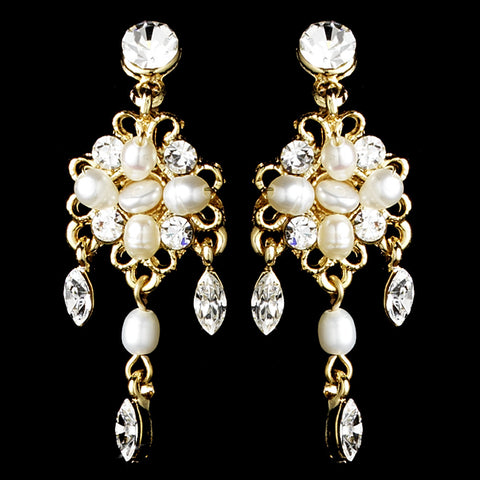 Delightful Gold Clear Crystal & Freshwater Pearl Floral Bridal Wedding Earrings 6206