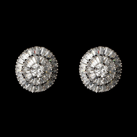 Oval Round Rhodium Clear CZ Crystal Bagquette Stud Bridal Wedding Earrings 82078