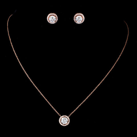 Rose Gold Clear CZ Crystal Pendent Bridal Wedding Necklace 82073 & Stud Earrings 8845 Jewelry Set