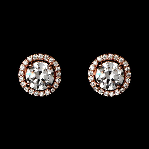 Rose Gold Clear Mini Pave Round CZ Stud Bridal Wedding Earrings 8845
