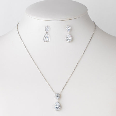 Rhodium Clear CZ Crystal Bridal Wedding Necklace 9729 & Drop Earrings 9729 Jewelry Set