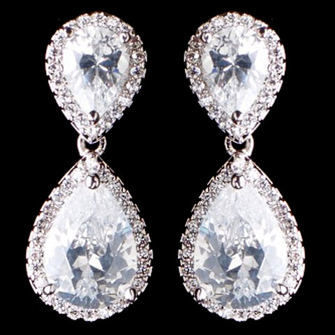 Rhodium Silver Teardrop CZ Bridal Wedding Earrings 9729