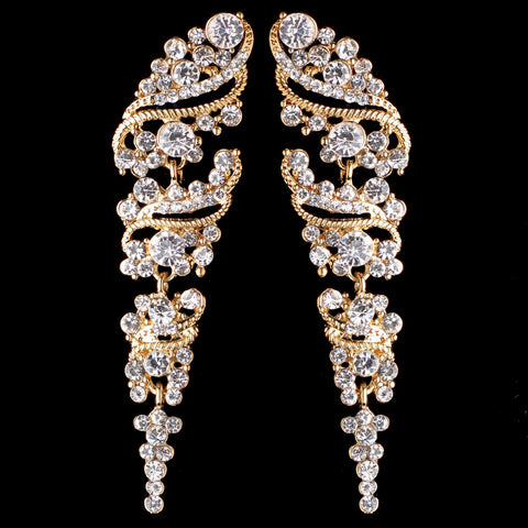 Gold Clear Vintage Grapevine Bridal Wedding Earrings 9883