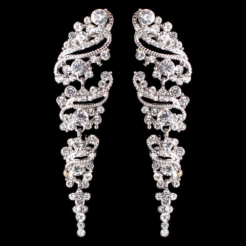 Rhodium Clear Vintage Grapevine Bridal Wedding Earrings 9883