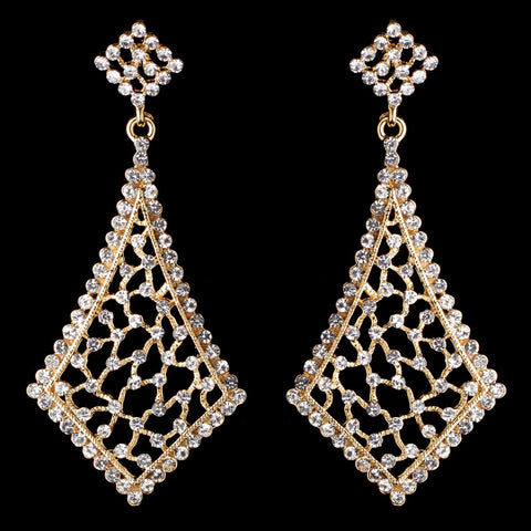 Vintage Gold Clear Bridal Wedding Earrings 9884