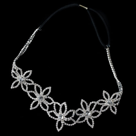 Silver Clear Rhinestone Floral Bridal Wedding Hair Bridal Wedding Elastic Headband 368