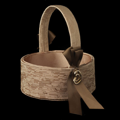 Brown Ribbon & Gold Heart Bridal Wedding Flowergirl Basket 722