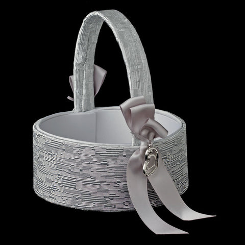 Silver Ribbon & Silver Heart Bridal Wedding Flowergirl Basket 722