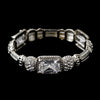 Antique Silver Rhodium Clear CZ Crystal Stretch Bridal Wedding Bracelet 0093