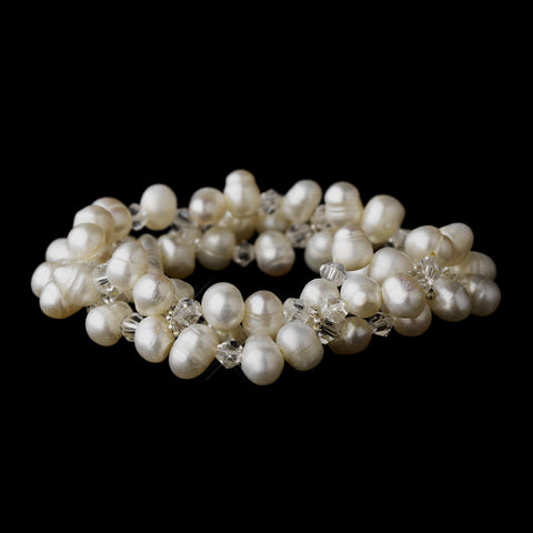 Freshwater Pearl Stretch Bridal Wedding Bracelet FC B 0737