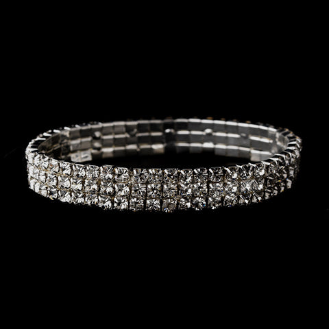 Silver Clear 3-Row Rhinestone Stretch Bridal Wedding Bracelet 0741
