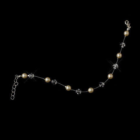 Ivory Czech Glass Pearl & Swarovski Crystal Bead Illusion Silver Bridal Wedding Bracelet 2031
