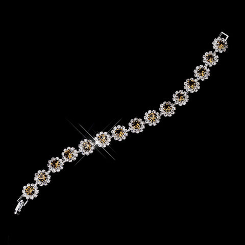 Silver Brown Round Rhinestone Bridal Wedding Bracelet 2614