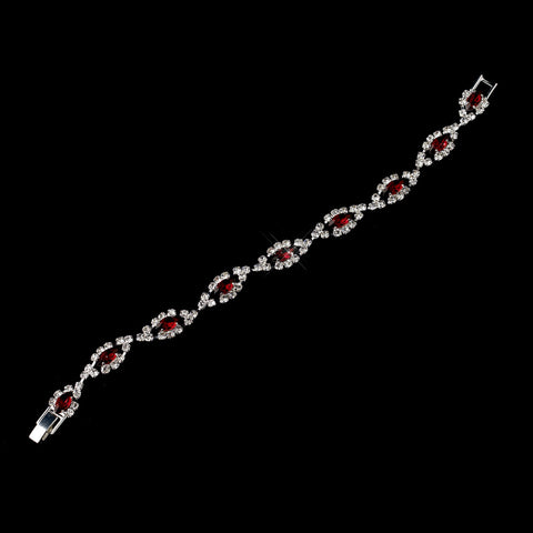 Silver Ruby & Clear Marquise Rhinestone Bridal Wedding Bracelet 4054