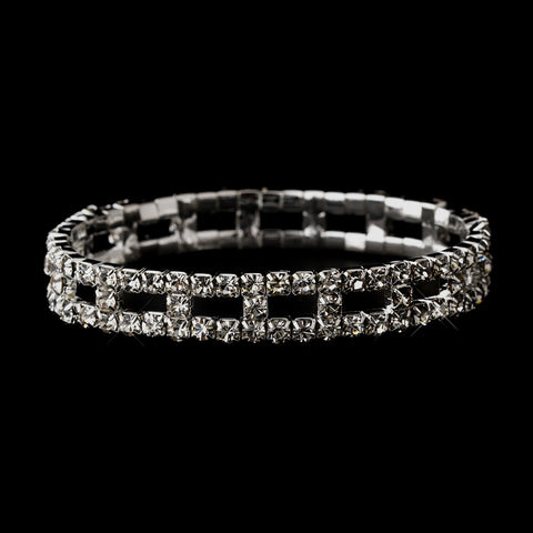 Silver Clear Rhinestone Stretch Bridal Wedding Bracelet 8043