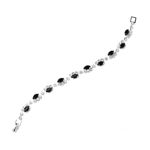 Silver Black & Clear Marquise Rhinestone Bridal Wedding Bracelet 9344