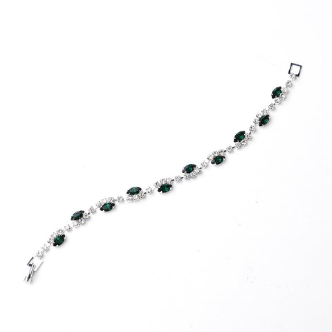 Silver Emerald & Clear Marquise Rhinestone Bridal Wedding Bracelet 9344