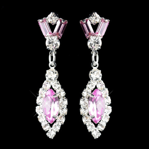Silver Pink & Clear Marquise Baguette Round Rhinestone Drop Bridal Wedding Earrings 0124