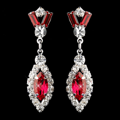 Silver Red & Clear Marquise Baguette Round Rhinestone Drop Bridal Wedding Earrings 0124