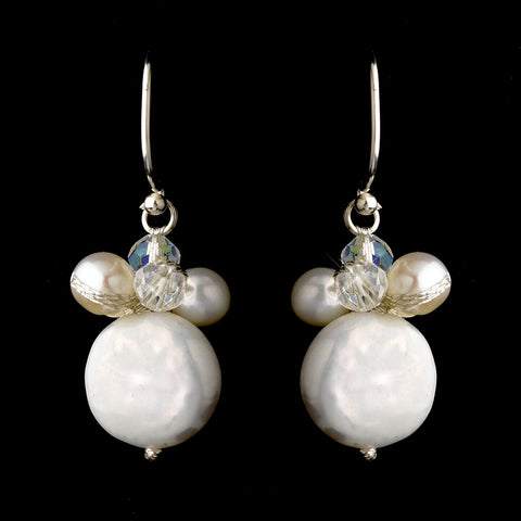 Silver Freshwater Coin Pearl & AB Swarovski Crystal Bead Hook Bridal Wedding Earrings 0126