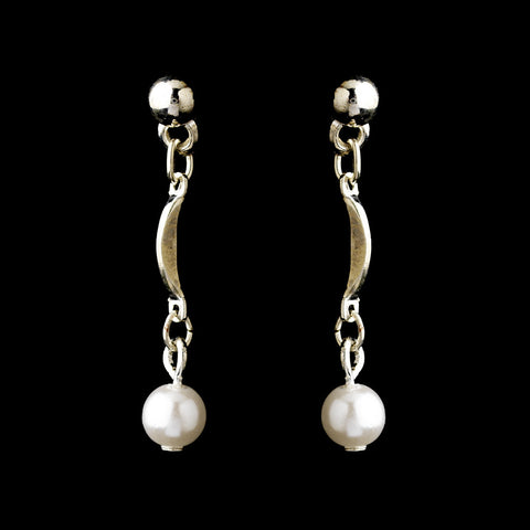 Silver White Pearl Drop Bridal Wedding Earrings 0991
