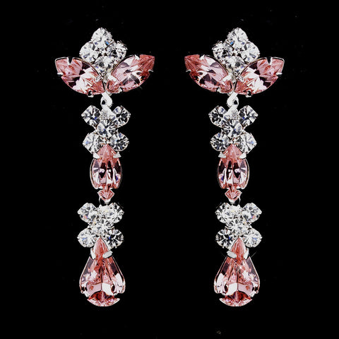 Silver Pink & Clear Round, Marquise, Teardrop Bridal Wedding Earrings 1007